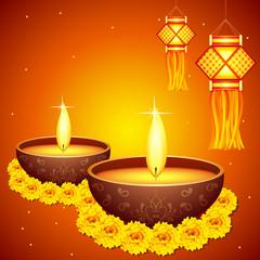 vector illustration of colorful diwali hanging lantern with diya
