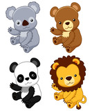 illustration of cute animal set vector