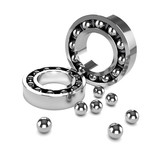 3d Ball bearing cases and scattered ball bearings