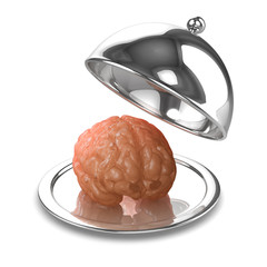 3d Silver platter with brain