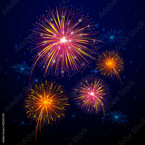 vector illustration of colorful firework for celebration