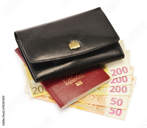 Black wallet, passport and Euro banknotes isolated on white