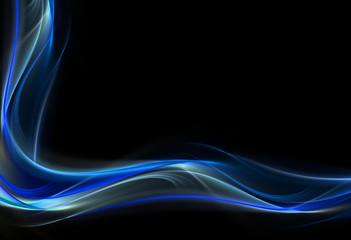 Elegant blue fractal wave on black background