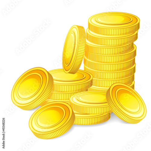 vector illustration of stack of gold coin