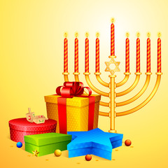 vector illustration of colorful gift wishing Israel New Year