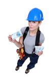 Female laborer holding wad of bills