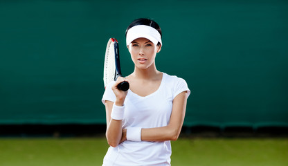 Tennis competition. Female player at the tennis court