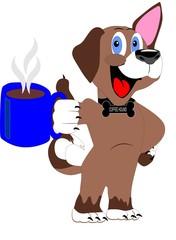 The coffee hound enjoying its pleasures