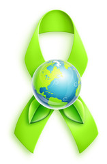 Illustrated Planet Earth with Green Ribbon
