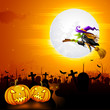 vector illustration of witch flying on broom stick in Halloween