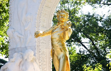 The statue of Johann Strauss in Vienna, Austria