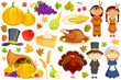 vector illustration of collection of Thanksgiving object