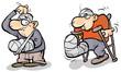 Two Cartoon men in plaster.