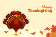vector illustration of turkey with maple wishing Thanskgiving