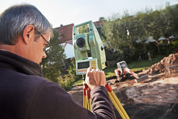 land surveyor, geodesist at work
