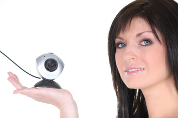 Woman with webcam