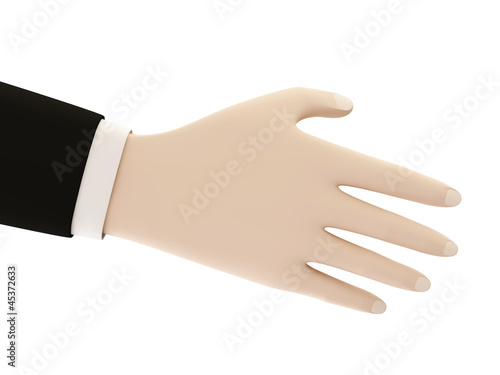 A business man with an open hand isolated on white background