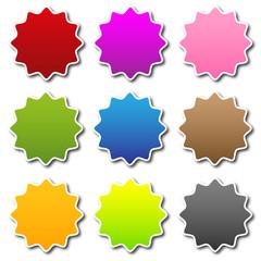 Blanko Sticker Farbig Bunt Gewellt