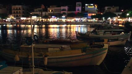 Lake Voulismeni night scene, Agios Nikolaos, Crete