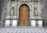 Historic wooden entrance doors to Metropolitan Cathedral in Mexi poster