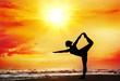 Yoga silhouette on the beach