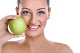 Fototapety  woman with healthy teeth and green apple