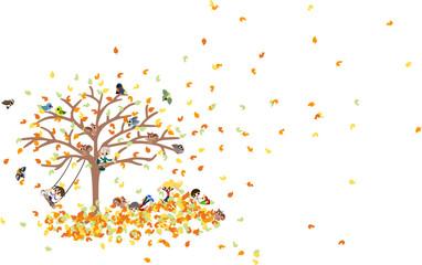 たくさんの落ち葉が絨毯になって、その上で動物達とはしゃぐ子供達。