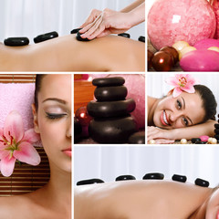 Collage  of spa treatments and massages