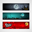 Happy Halloween day banner set design, vector