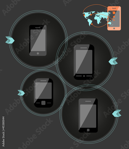 Mobile phone technology illustration