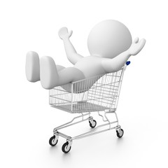 happy 3d human in shopping cart