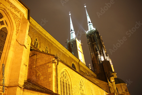 Cathedral at night, Wroclaw, Poland © promesaartstudio