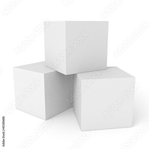 Leinwandbild Motiv Three 3d white cubes isolated on white background