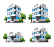 Four cartoon office vector buildings with trees - 45381642