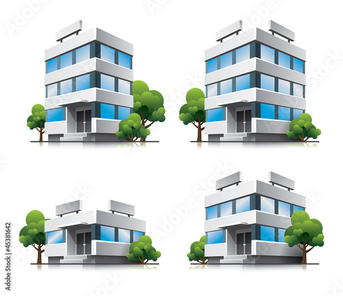 Four cartoon office vector buildings with trees
