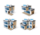 Isolated 3d vector icons of modern family houses.
