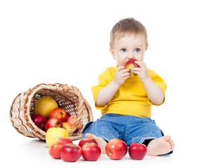 kid eating healthy food apple