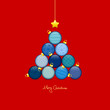 Abstract Christmas Tree Balls Pattern Blue/Red Gold