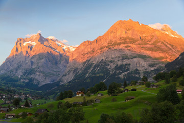 Alpenglow in Grindelwald, Switzerland