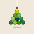 Abstract Christmas Tree Balls Pattern Green/Beige Silver