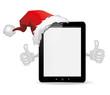 Tablet mit Weihnachtsmütze und Ok Daumen
