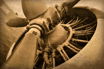 Old aircraft engine, vintage plane close up