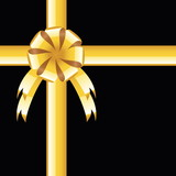 Black background with gold bow, greeting card