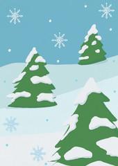 クリスマスの雪ともみの木
