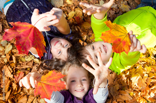 Leinwanddruck Bild kiddies im laub