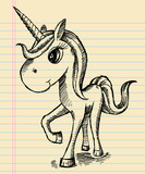 Notebook Sketch Unicorn Doodle Art poster