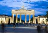 night scene Brandenburg Gate  with lights Berlin Germany Europe