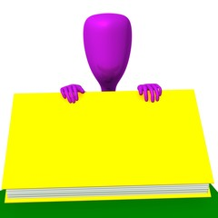 Pink puppy behind closed big yellow book