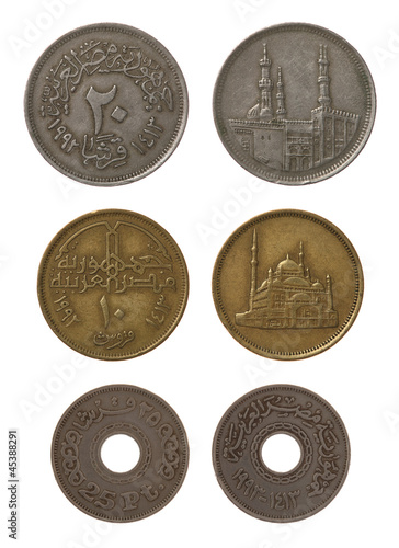 Egyptian Coins Isolated on White