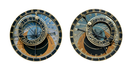 Prague Astronomical Clock Isolated on White